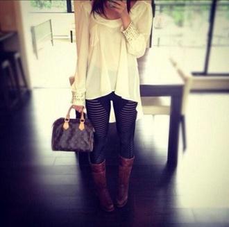 blouse cream casual boots classy shirt leggings