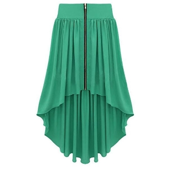 Asymmetrical Zip Front Maxi Skirt Green