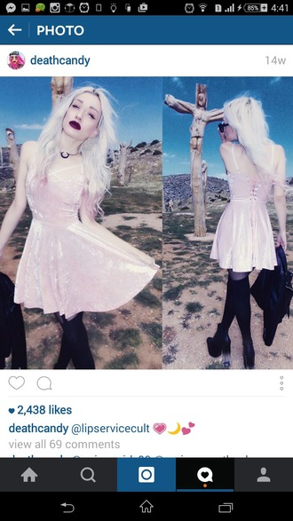dress instagram pink velvet velvet dress short dress sexy dress goth pink dress strappy pastel goth pastel pink pastel alternative