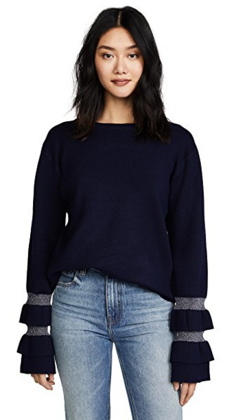 J.O.A. sweater ruffle navy