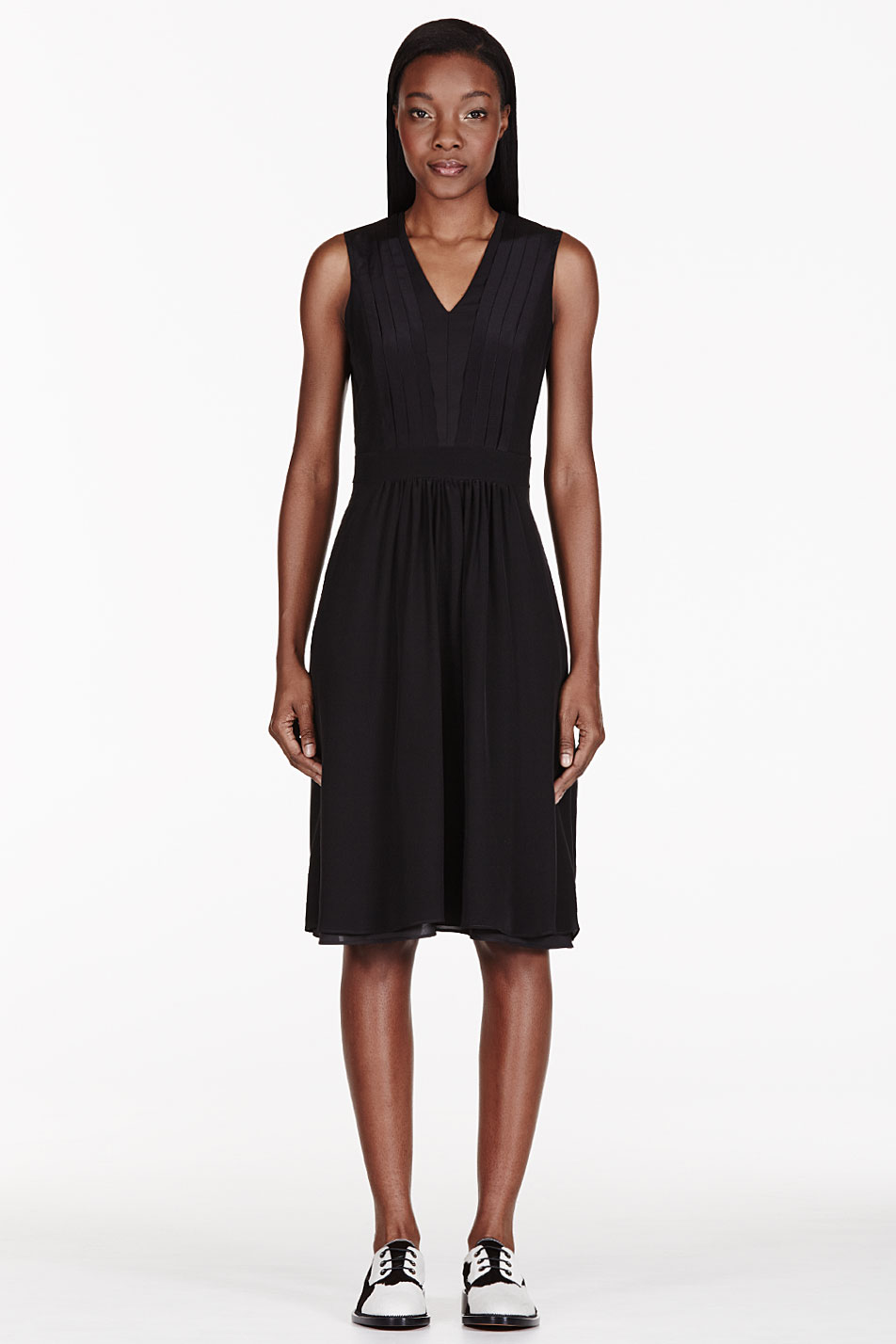 altuzarra black silk pleated dress