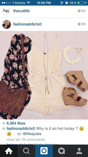 romper lace tan white romper lace wedges floral kimono floral kimono summer outfit summer outfits tumblr fashion summer outfits casual style jumpsuit shoes