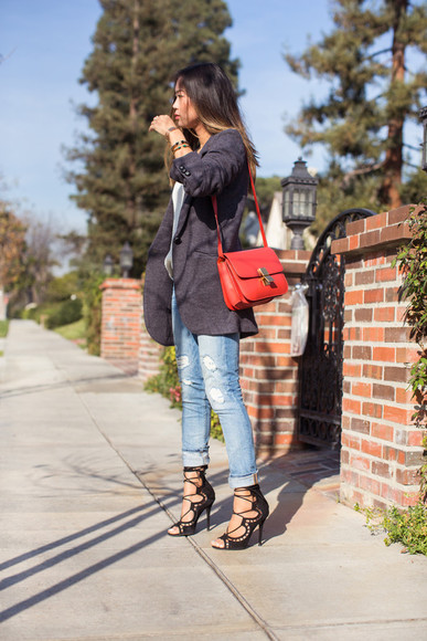 song of style sweater shoes jeans bag jacket jewels