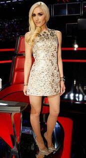 dress,pumps,gwen stefani,mini dress,sparkly dress,sequins,sequin dress,gold dress,jacquard