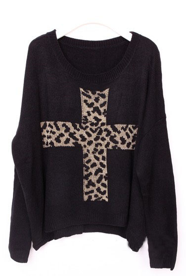 Black Long Sleeve Leopard Cross Embroidery Sweater - Sheinside.com