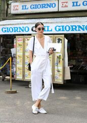 jumpsuit,all white outfit,cropped jumpsuit,white jumpsuit,v neck,summer outfits,sneakers,white sneakers,all white everything,bag,black bag,shoulder bag,black shoulder bag,sunglasses,cropped