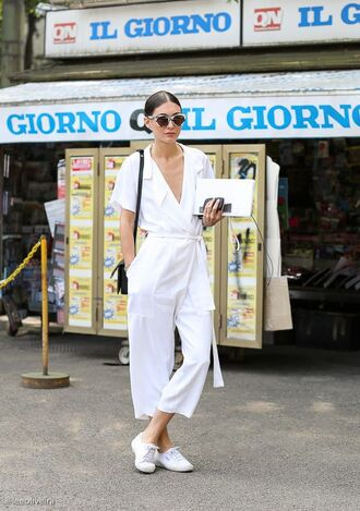 jumpsuit all white outfit cropped jumpsuit white jumpsuit v neck summer outfits sneakers white sneakers all white everything bag black bag shoulder bag black shoulder bag sunglasses cropped