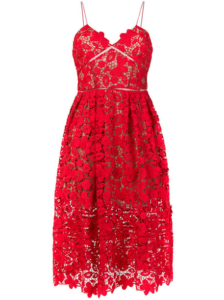 self-portrait dress midi dress women midi spandex lace red