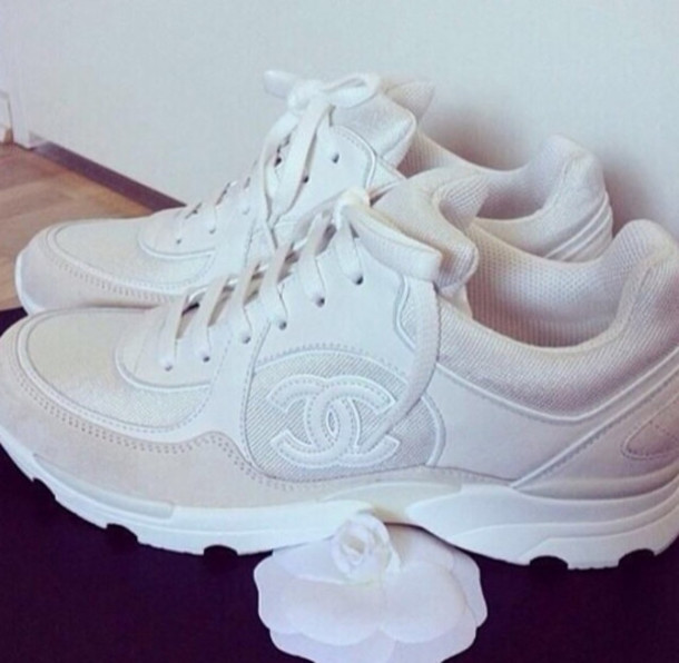 shoes, chanel, sneakers, white, fashion