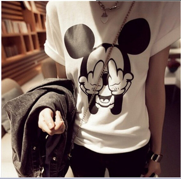 t-shirt top mickey mouse black and white