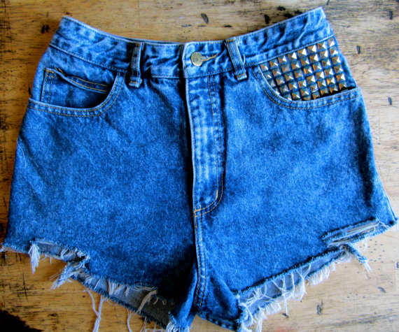 VTG 1980's Guess cut off high waist acid wash door PEGGYOWASHERE
