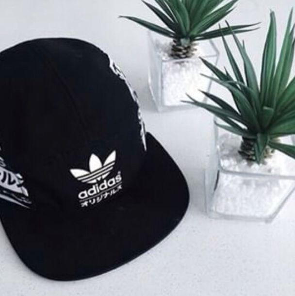 hat black black cap cap adidas cool fashion white japanese japanese text black and white