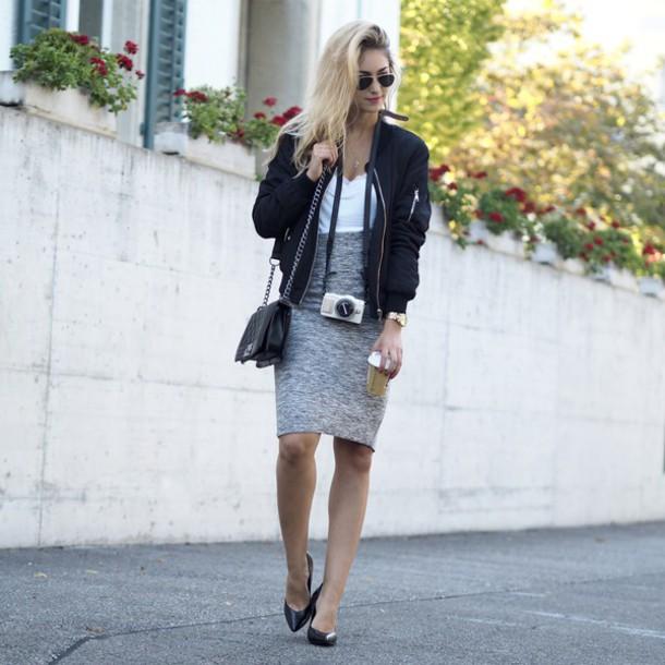 the vogue word blogger jacket skirt shoes bomber jacket black bomber jacket grey skirt white top mini bag shoulder bag black heels