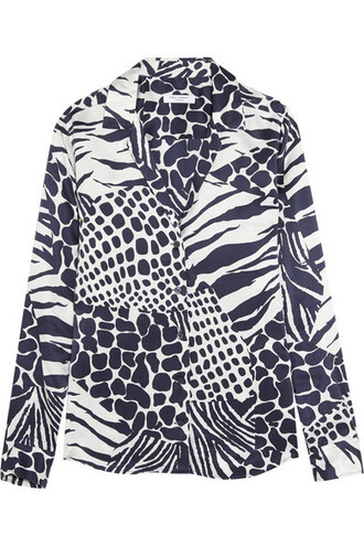 shirt animal print blue silk top