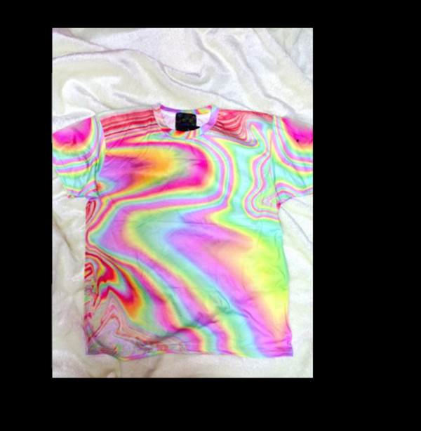 shirt t-shirt acid trip holographic rainbow rainbow shirt pastel seapunk pastel goth