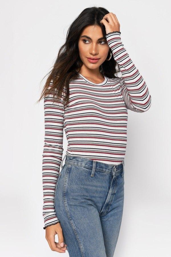 Tasha White Multi Striped Long Sleeve Top