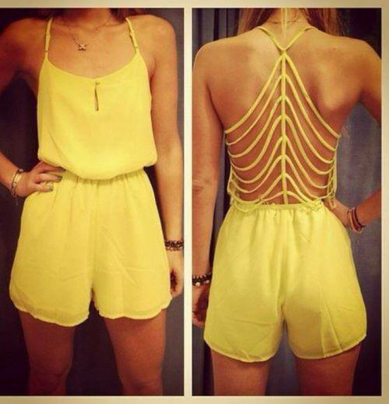 jumper jumpsuit yellow jumper strappy back