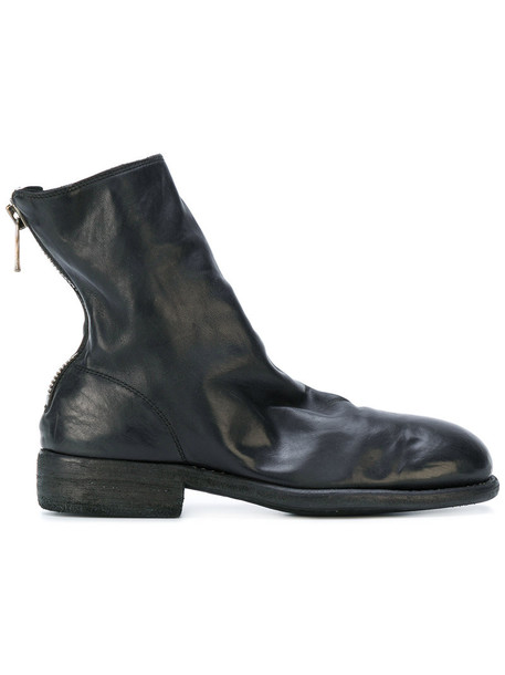 Guidi heel women ankle boots leather black shoes