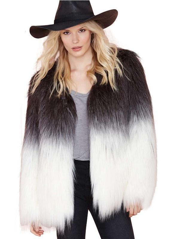 Block ombre faux fur coat
