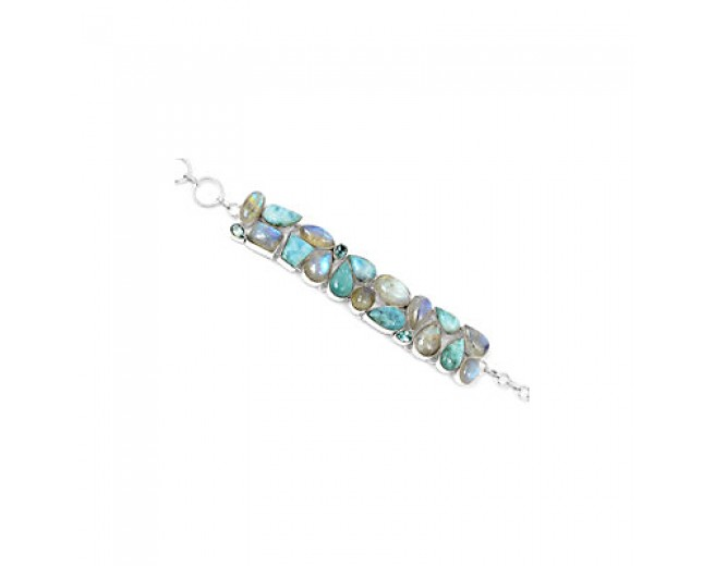 Genuine 925 sterling silver Larimar And Blue Topaz Gemstone Cluster Bracelet
