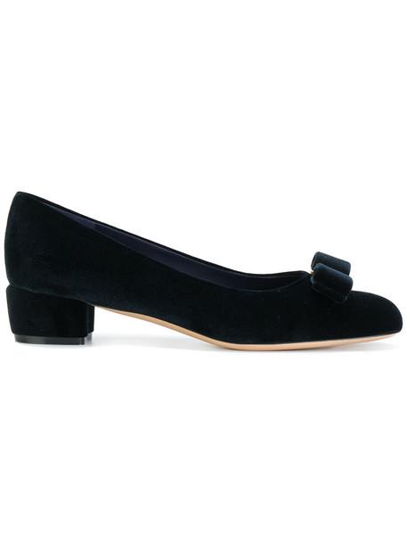 Salvatore Ferragamo women pumps leather blue shoes