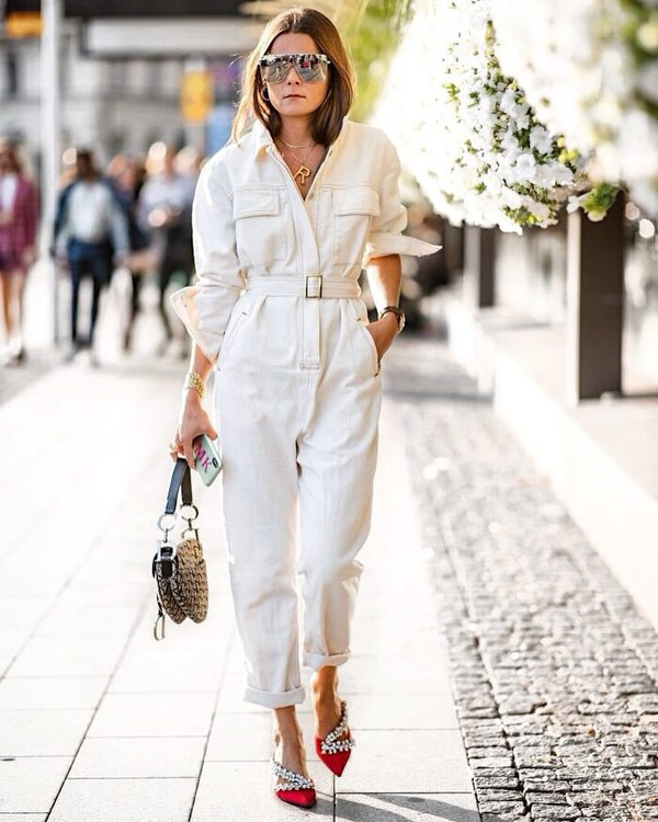 a716d4543d jumpsuit long sleeves belt mules red shoes sunglasses dior bag earrings.