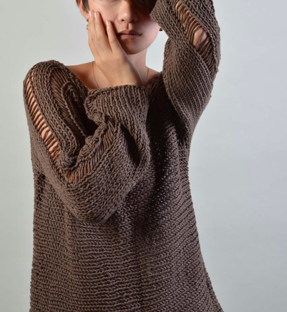 Hand Knit Woman Sweater  Eco Cotton sweater in Barley by MaxMelody