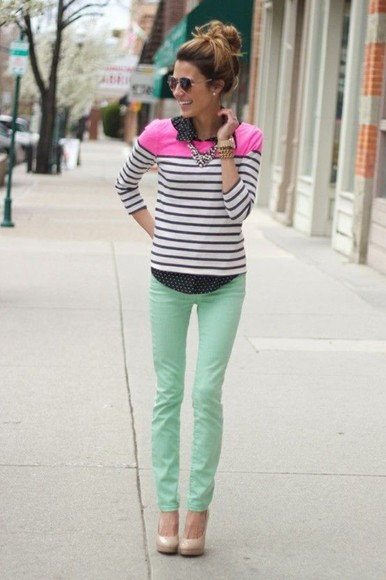 hair jeans mint green jeans bold color cute shoes pink and black