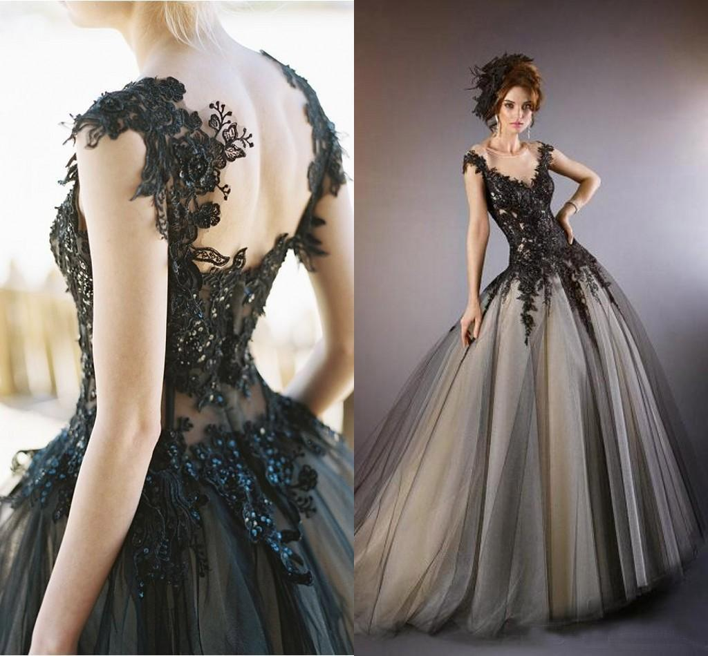Hot Sale Sheer Neck Ball Gown Prom Dresses 2015 Gothic Lace ...