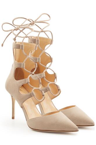 suede pumps pumps lace suede beige shoes