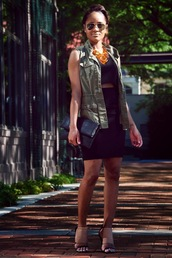the daileigh,dress,jacket,shoes,jewels,bag,sunglasses