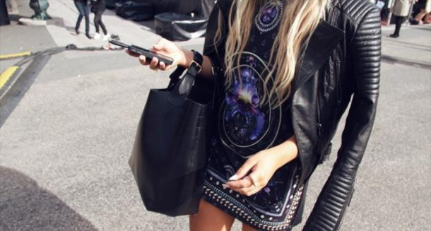jacket black handbag cool shirts leather jacket summer outfits hipster dress