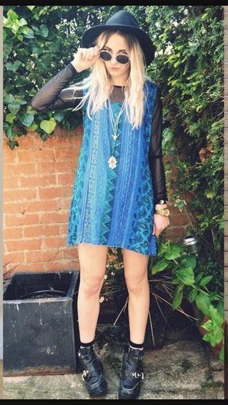 dress hat blue dress kimono sunglasses shoes pattern patterned dress blue skirt