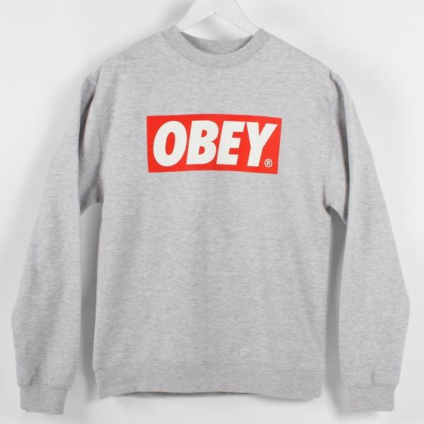 Obey The Box Crew Sweatshirt, Heather Grey