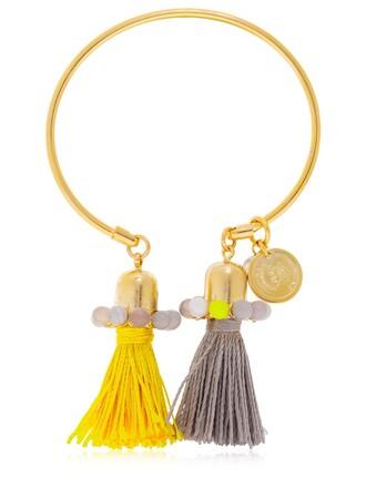 tassel yellow grey jewels