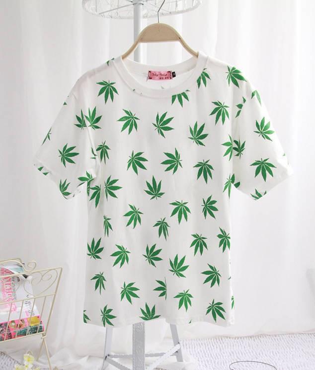Las mujeres sexy camisas de t de moda de verano 2014 harajuku tees de hoja de womans sexy o de cuellos de