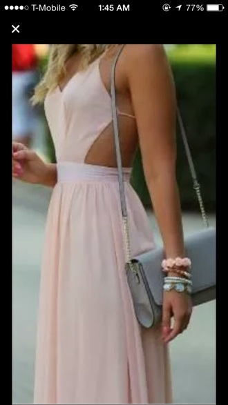 dress light pink dress backless dress maxi dress