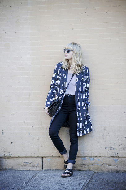 just another me coat jeans t-shirt shoes bag sunglasses jacket spring outfits blue and white blue coat warby parker