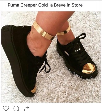 shoes puma black black and gold black sneakers creepers gold adidas shoes rihanna pumas puma sneakers metallic toe