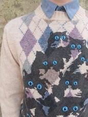 sweater,cats,cat sweater,knit,knitwear,decals,alternative,cool,grunge,blue,argyle,winter sweater,cute,cat shirt,eyes,eye,ugly christmas sweater,purple