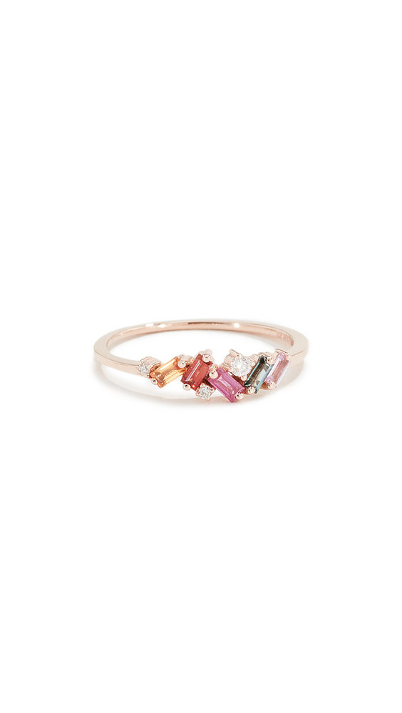 Suzanne Kalan 18k Mini Ring with Sapphire Baguettes in gold / rose / multi