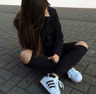 shoes adidas cute black and white stripes