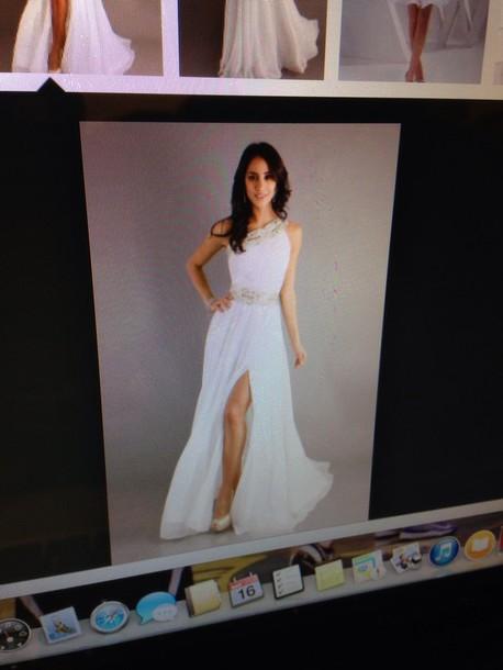 dress greek goddess white prom dress long prom dress slit dress