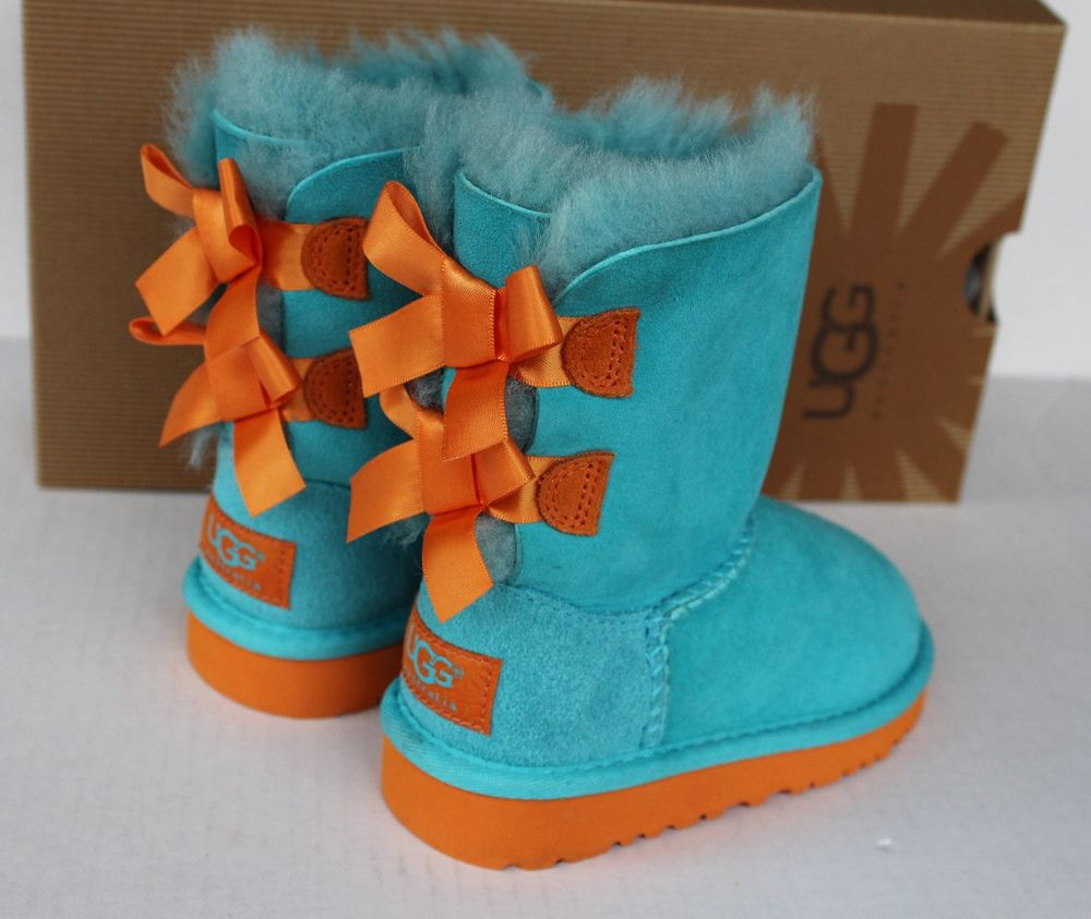 NEW UGG BOOTS UGGS GIRLS TODDLER 7 KIDS MINI BAILEY BOW TURQUOISE BLUE ORANGE