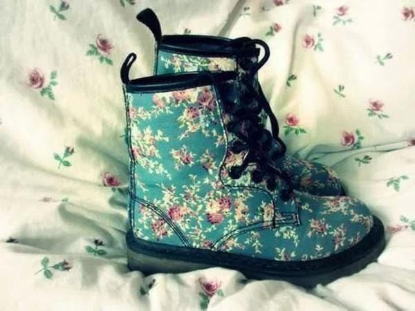 shoes floral combat boots flat boots floral shoes