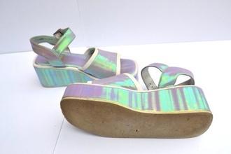 shoes flatforms flatforms platform shoes holographic 90s style 90's shoes 90s style 90s shoes wedges platform shoes high heels sandals silver futuristic silver shoes silver heels silver platforms metallic shoes