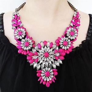 Vintage Style H Quality Neon Swarovski Crystal Pink Flower Necklace Pendant | eBay