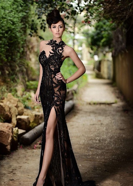 dress black dress long dress evening dress gown black slit dress hat prom dress