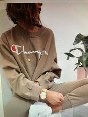 shirt,champion,tan,nude,sweater,sweatshirt,pants,matching set,winter outfits,stylish,cute,white,red,sportswear,menswear