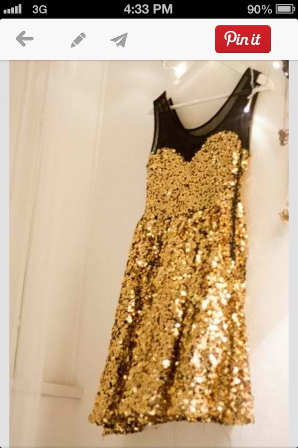 dress gold sequins black skater dress